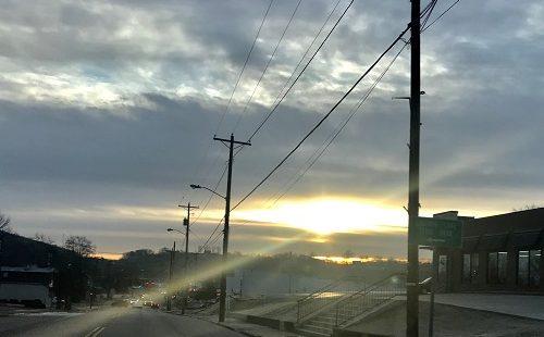 sunrise peeking through