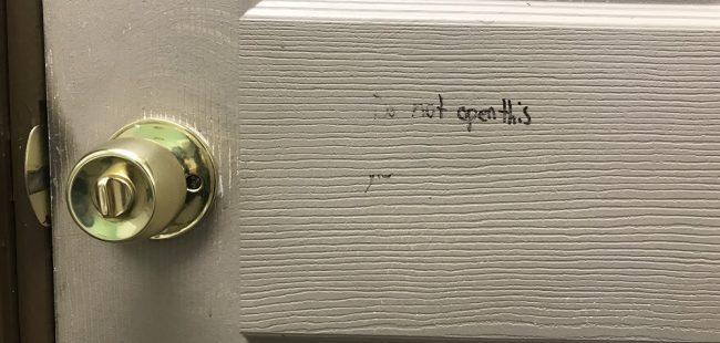door with writing